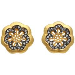 22 Karat Gold Silver and Diamond Flower Shaped Earrings