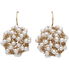 Pearl and Crocheted Gold Wire Earrings