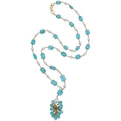 Apatite Wrapped Tassle Necklace