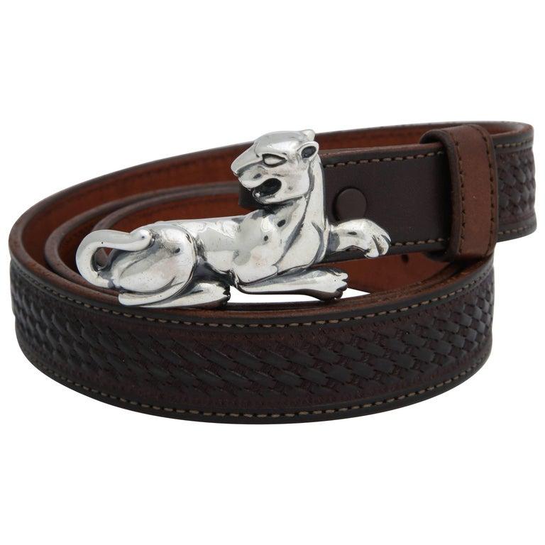Sterling Silver Cougar Belt Buckle