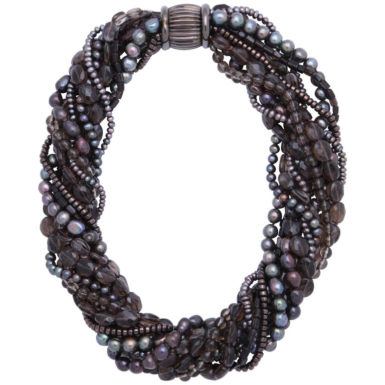 Smoky Topaz and Pearl Torsade Multistrand Necklace
