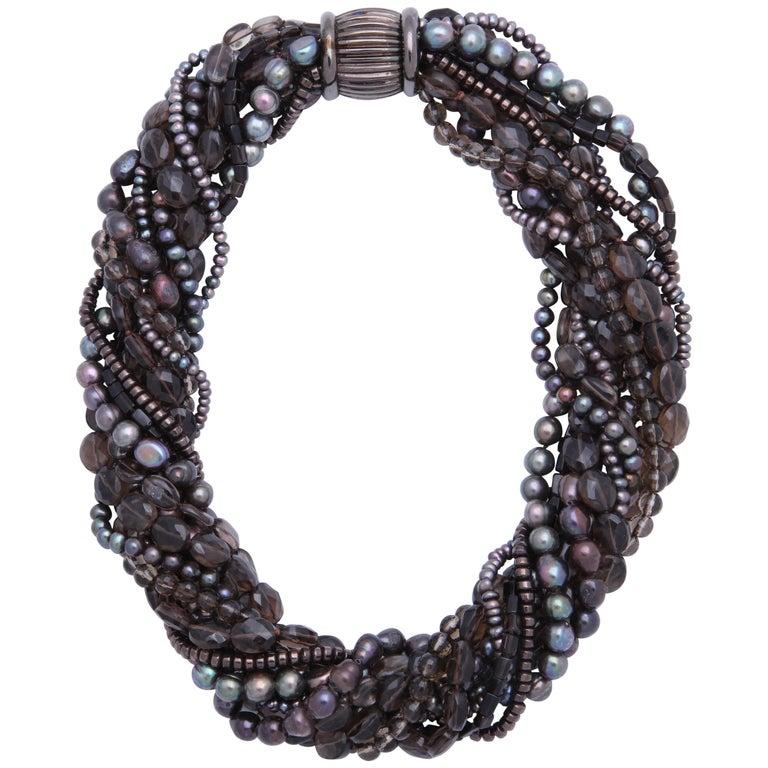 Smoky Topaz and Pearl Torsade Multistrand Necklace