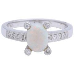 Natural Australian Opal Diamond White Gold Ring