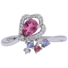 Pink Tourmaline Tanzanite Diamond White Gold Ring