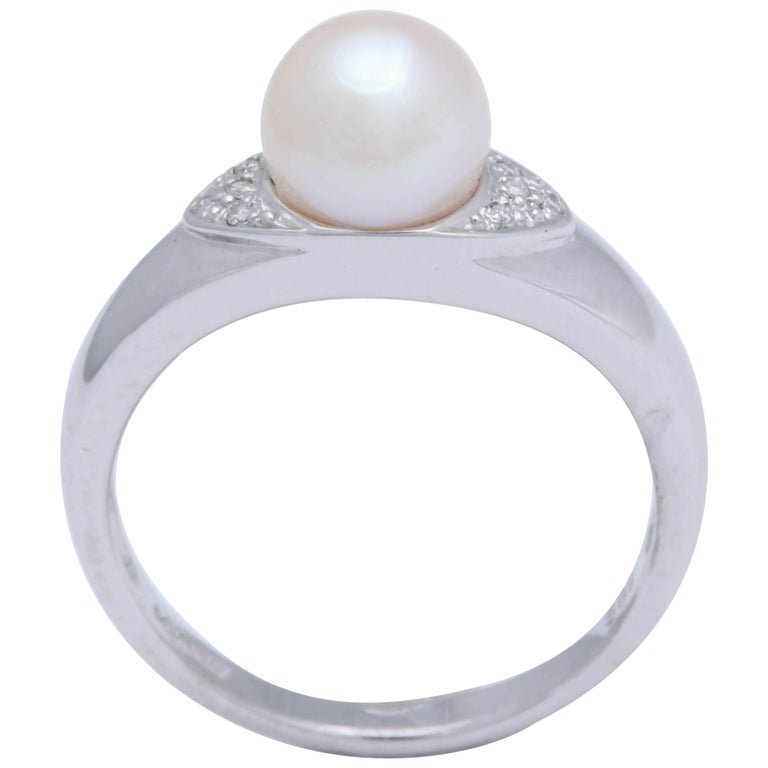 Pearl, Diamond White Gold Ring