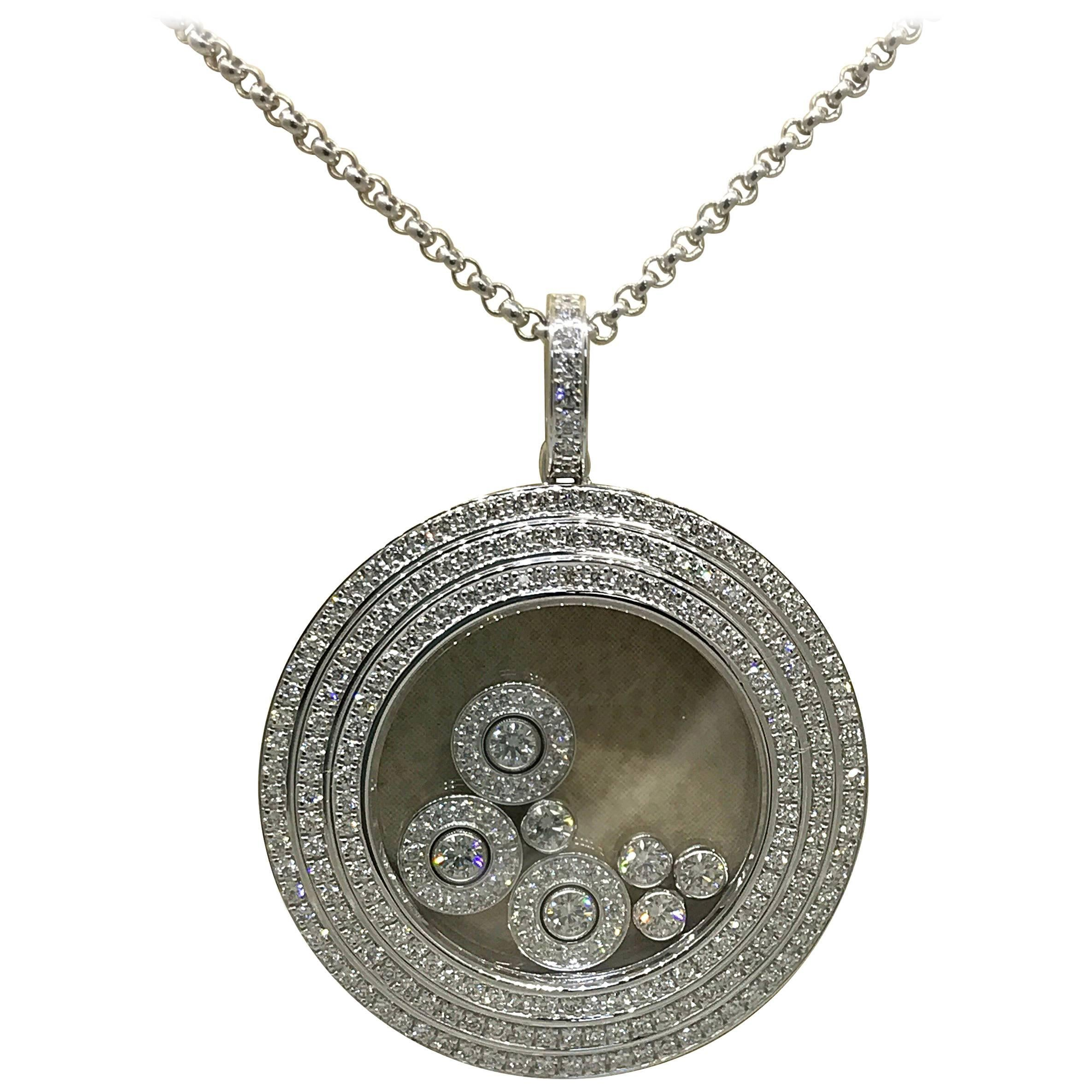 18-karat White Gold, Emerald And Diamond Necklace - one size Chopard