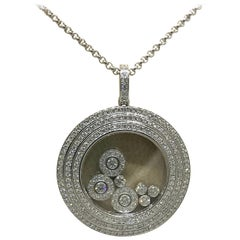 Chopard Happy Diamonds 18 Karat White Gold Round Pendant or Necklace