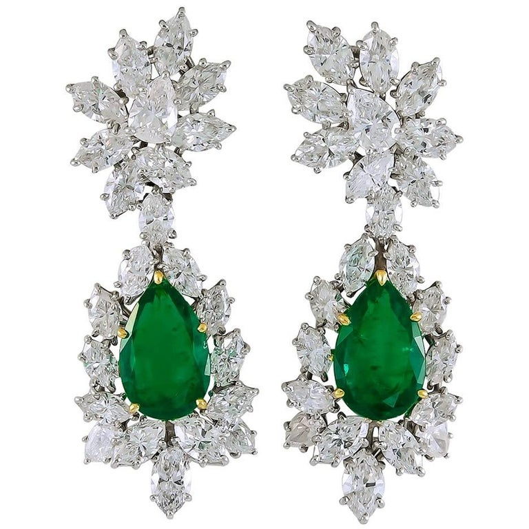 Harry Winston Diamond, Colombian Emerald Ear Clips