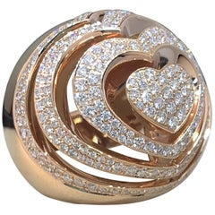 Chopard Xtravaganza Rose Gold Diamond Large Heart Dome Ring  82/7215