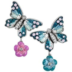 Sicis White Diamonds Gold Micromosaic Butterfly Earrings
