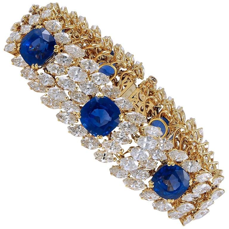 Cartier Diamond and Ceylon Sapphire Bracelet