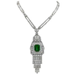 Diamond Emerald Platinum Necklace