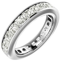 Asscher Cut Diamond Platinum Eternity Band Channel Set