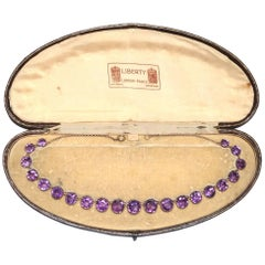 Liberty & Co. Antique Late Victorian Amethyst Gold Riviere Necklace Original Box