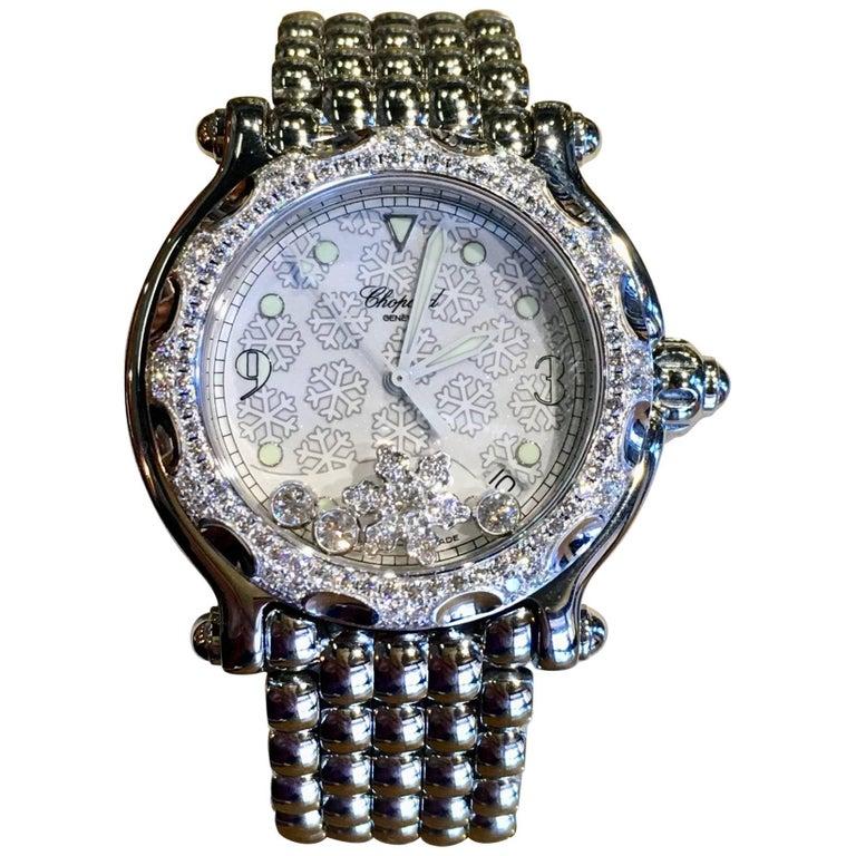Chopard stainless steel Happy Sport Diamond Snowflake Quartz Wristwatch