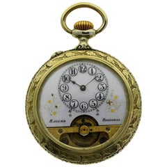 Hebdomas Nickel Silver Eight Day Pocket Watch with Exposed Balance Wheel, 1920s