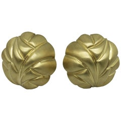 Yellow Gold Dome Earclips