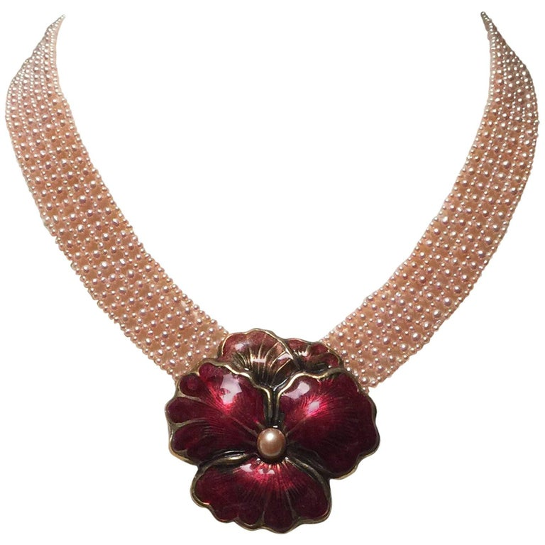 """Woven Pink Pearl """"V"""" Necklace with Vintage Enamel Floral Brooch by Marina J."""