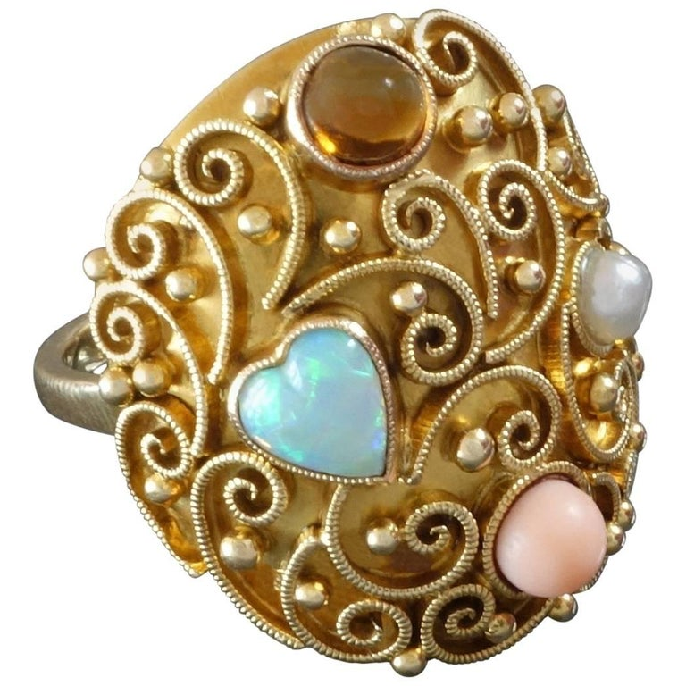 Unique German 1920s Opal Heart Angelskin Coral Citrine Pearl Gold Cocktail Ring For Sale