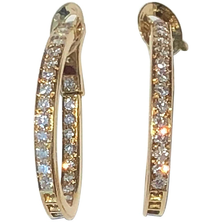 Van Cleef & Arpels Diamond Hoop Gold Earrings