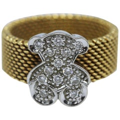 Tous Diamond and Gold Teddy Bear Ring