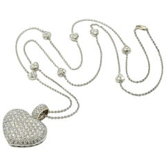 18k White Gold and 7.50cttw Pave Diamond Heart Necklace