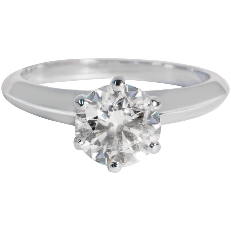 Tiffany & Co. Solitaire Diamond Engagement Ring in Platinum D VVS1 1.04 Carat
