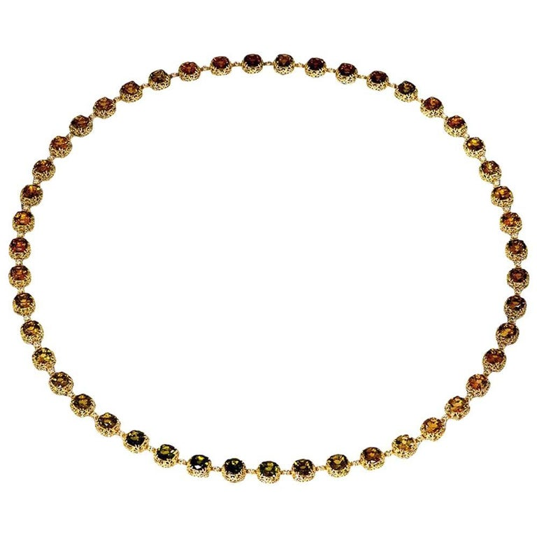 Tourmaline Diamond Gold Byzantine Necklace One of a Kind For Sale
