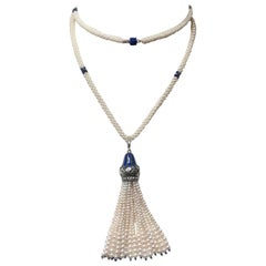 Pearl Necklace with Lapis Lazuli Beads and Blue Enamel Silver Pendant by Marina