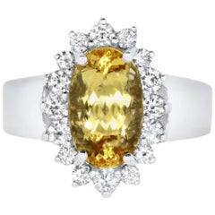 Oval Imperial Topaz and White Diamond Ring