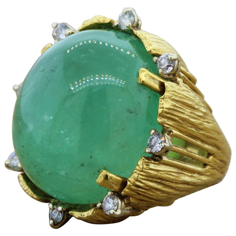 Large Cabochon Emerald Diamond Gold Cocktail Ring
