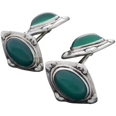 Art Nouveau Green Agate Silver Double-Sided Cufflinks