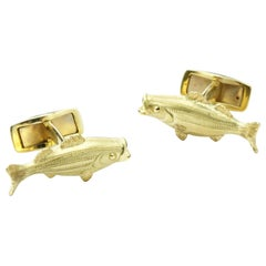 18 Karat Gold Striped Bass Cufflinks