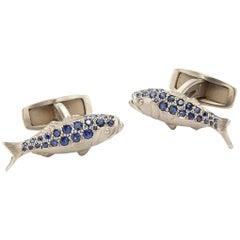 14 Karat Palladium White Gold Bluefish Cufflinks Featuring 0.61 Carat Sapphires