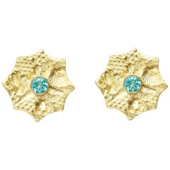 Apatite and 18 Karat Gold Sea Urchin Earrings