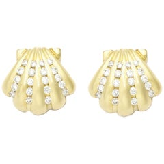 0.56 Carat Diamonds Set in 18 Karat Gold Nantucket Scallop Shell Posts