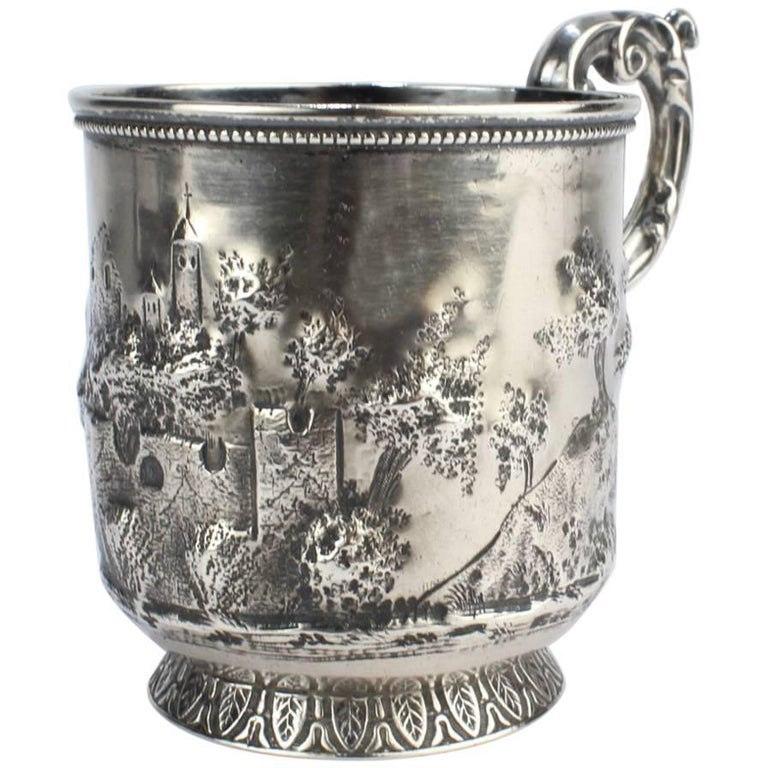 Architectural New Orleans Coin Silver Mug by Adolphe Himmel for Hyde & Goodrich