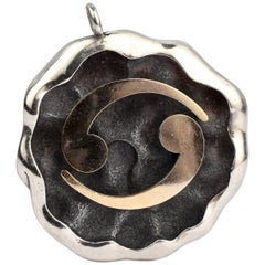 1960s Gold and Sterling Silver Yin & Yang Pendant for a Necklace by Roger Lucas