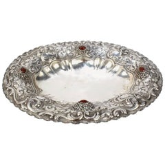 Italian 800 Repousse Silver Bowl with Carnelian Cabochons