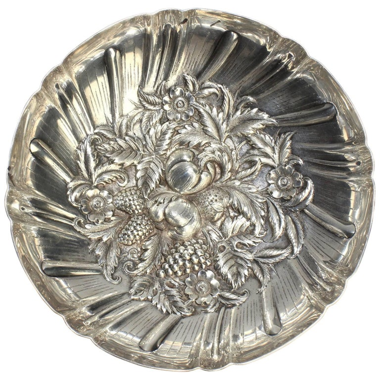 Large S. Kirk & Son Footed Sterling Silver Repousse Bowl