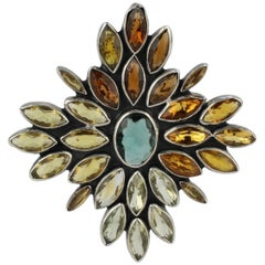 Federico Jimenez Mexican Sterling Silver, Citrine and Aquamarine Brooch or Pin