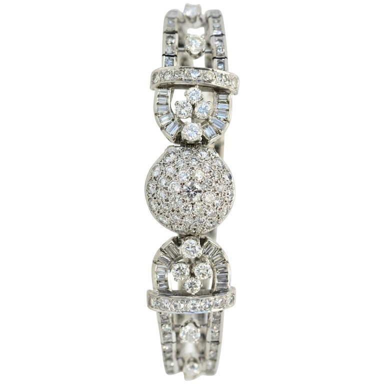 Longines Platinum Diamond Covered Wristwatch