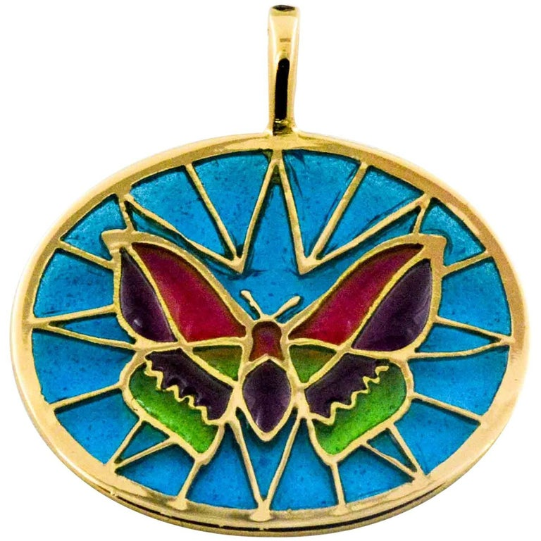 Plique a Jour Glass Enameled Butterfly 18 Karat Yellow Gold Pendant For Sale