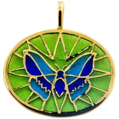 Plique a Jour Butterfly Enameled Glass 18 Karat Gold Pendant