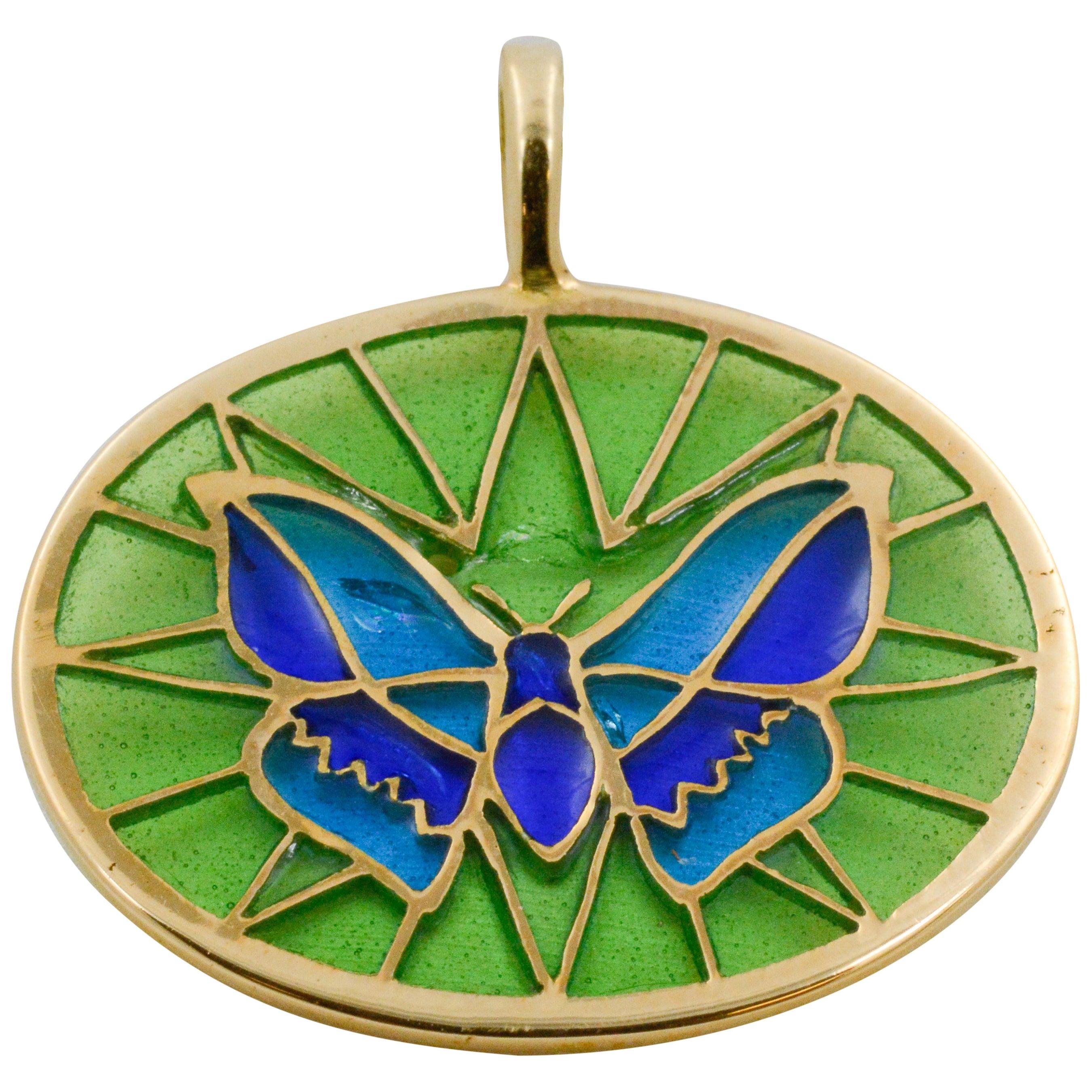 Plique a Jour Butterfly Enameled Glass 18 Karat Gold Pendant