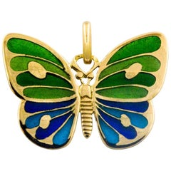 Plique a Jour Glass Enameled Butterfly 18 Karat Yellow Gold