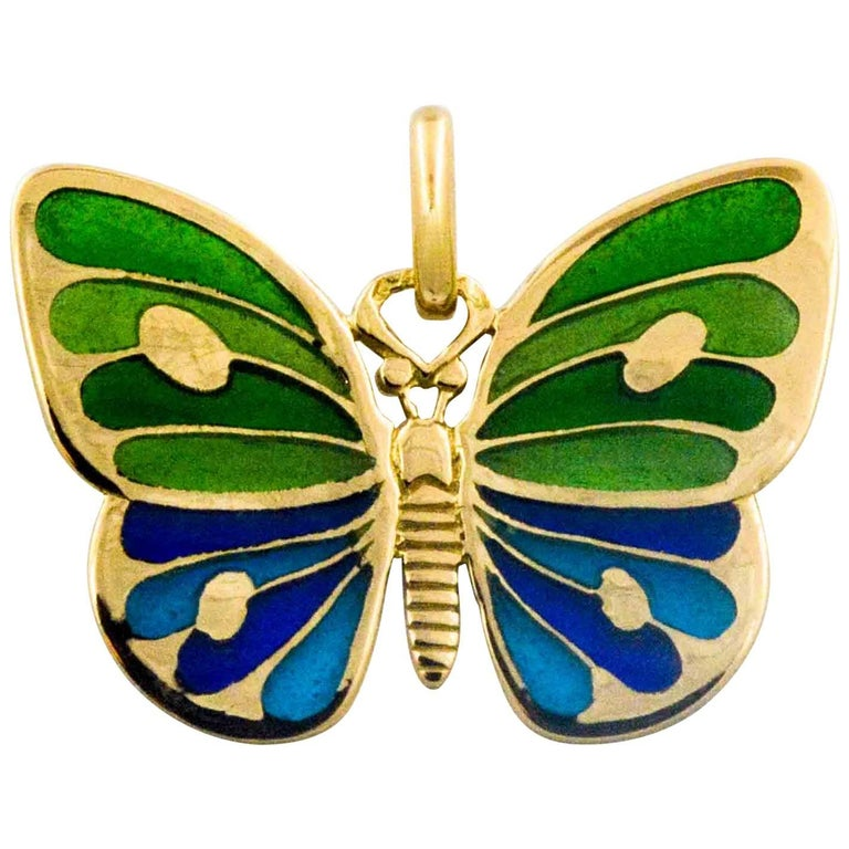 Plique a Jour Glass Enameled Butterfly 18 Karat Yellow Gold For Sale