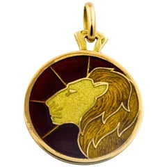 Plique a Jour Leo 18 Karat Yellow Gold Pendant