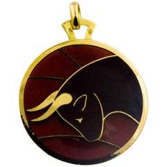 Plique a Jour Taurus 18 Karat Yellow Gold Pendant