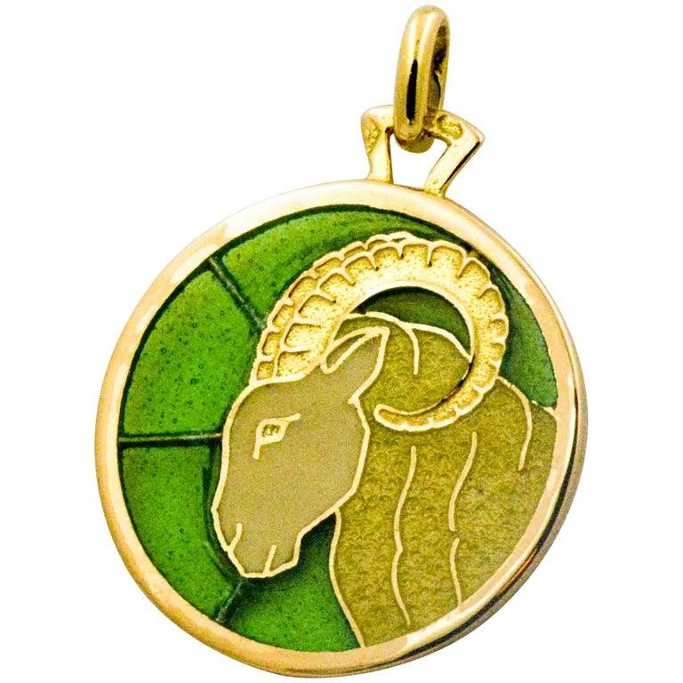 Aries Plique a Jour Pendant 18 Karat Yellow Gold